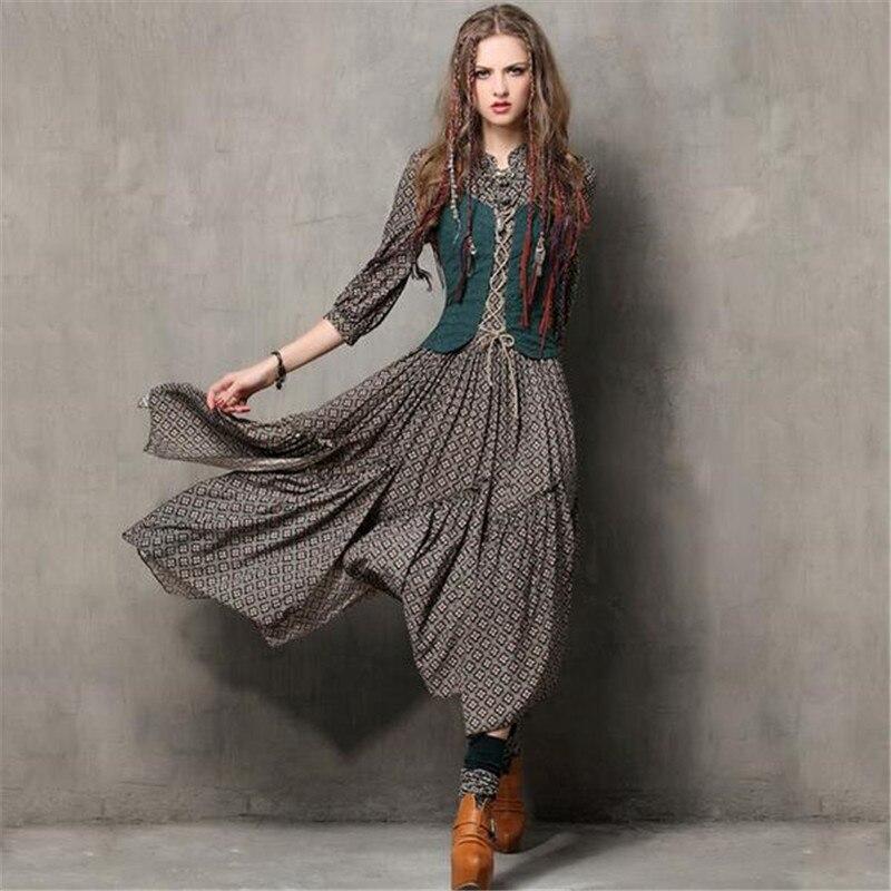Винтажное осеннее платье для женщин, туника с вышивкой, длинные платья с рукавом три четверти, хлопковые макси платья Vestidos