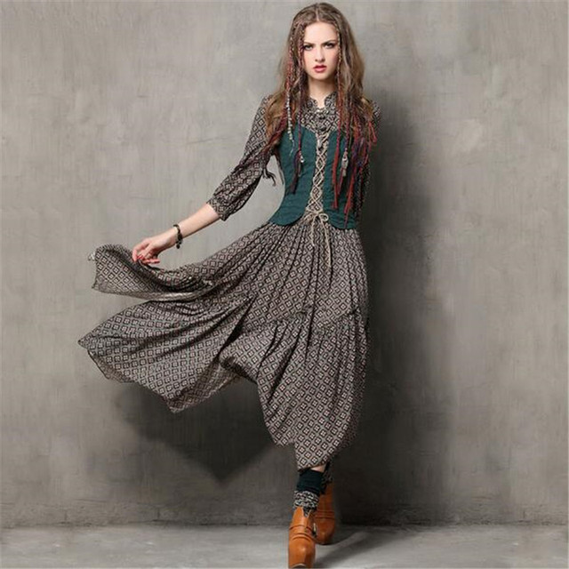 eb0d238b264e 2017 Women Long Dress Vintage Fake Two Piece Tunic Combo Dresses Ethnic  Style Meticulous Print Three Quarter Sleeve Maxi Dress