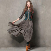 2017 Women Long Dress Vintage Fake Two Piece Tunic Combo Dresses Ethnic Style Meticulous Print Three Quarter Sleeve Maxi Dress