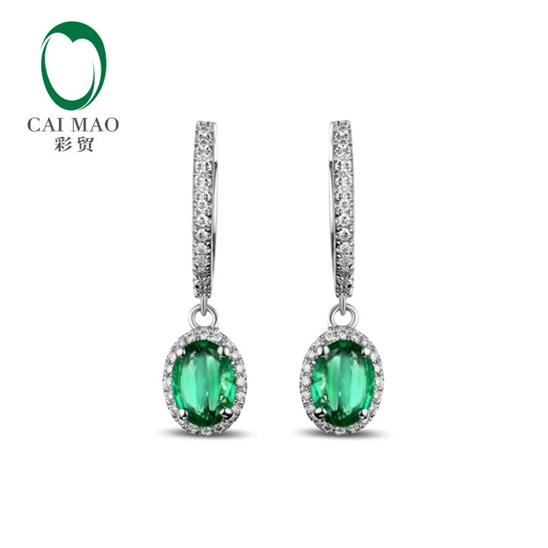 1.65CT Caimao New Arrivals 14 k Ouro Branco Natural Emerald Engagment Diamante Brinco