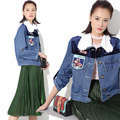 New Women Denim Jacket Harajuku Jeans Coat Spring Lace collar Beading Epaulet Patchwork Fitness Short Blue Brand High-end coat