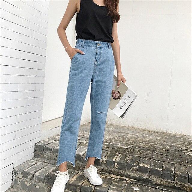 993384687 Pantalones vaqueros holgados de pierna ancha de mujer pantalones vaqueros  rasgados de cintura baja de borla