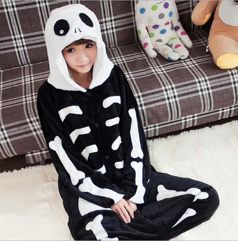 Autumn Spring Winter Flannel Skeleton Animal Pajamas One Piece Cartoon Sleepwear Unisex Adult Animal Onsies