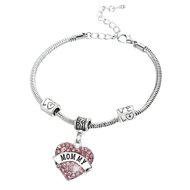 Bespmosp pink crystal heart letter mommy pendant bracelet bangles bespmosp pink crystal heart letter mommy pendant bracelet bangles vintage link chain lobster claw charm jewelry aloadofball Image collections