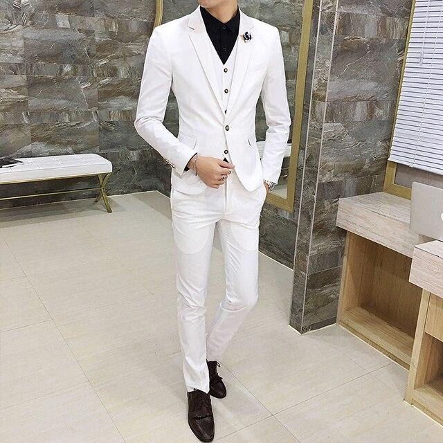 01fef6c6fdd85 Beyaz Erkek Takım Elbise Moda Iş resmi kıyafet Smokin Boyutu 3XL Düğün 2019