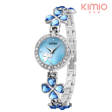 KIMIO Thin Clock Women Fashion Simple Watches Rhinestones Dr