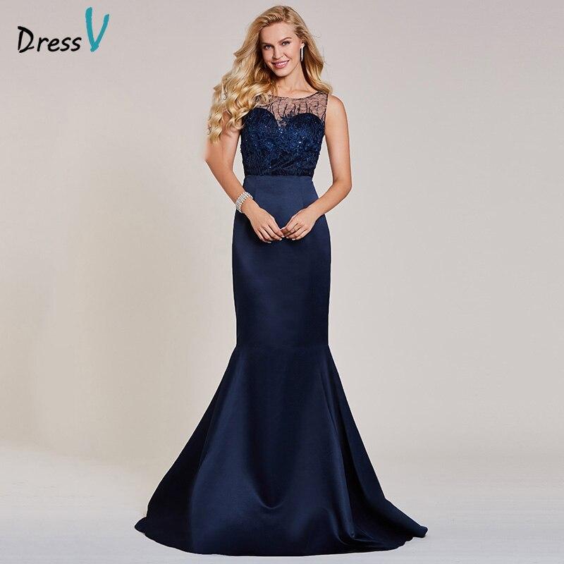 Dressv Dark Navy Long Evening Dress Cheap Scoop Neck Sleeveless Appliques Beading Wedding Party Formal Dress Evening Dresses