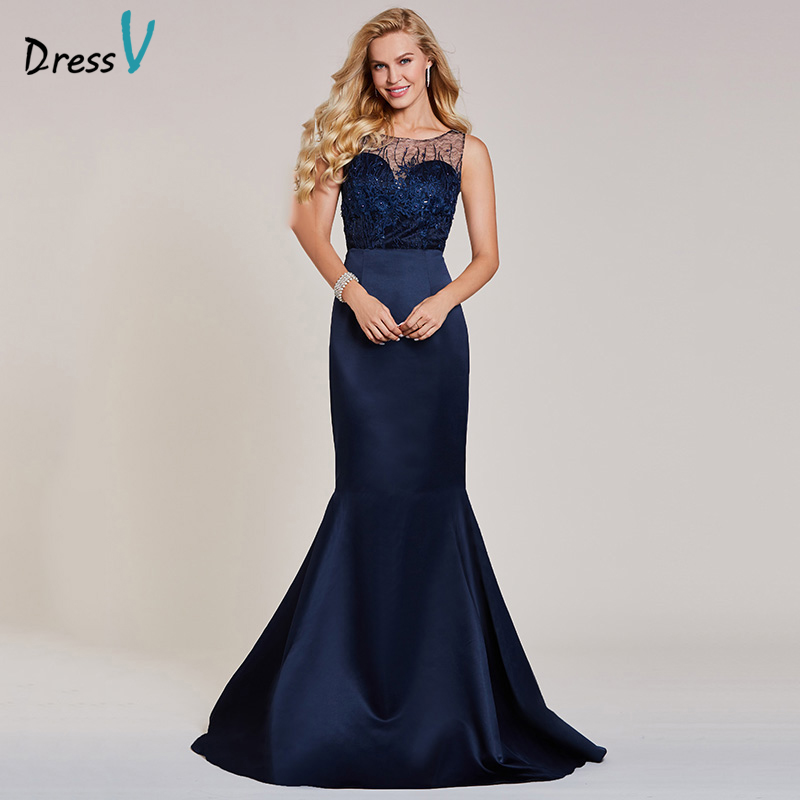 Dressv dark navy long   evening     dress   cheap scoop neck sleeveless appliques beading wedding party formal   dress     evening     dresses