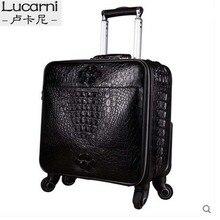 lukani крокодила мужские коробки чемоданы из крокодиловой кожи чемодан мужчин мужской пароль камера
