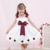Summer New 2018 Girls Dress Handmade Flower Bow Belt Solid Color Strap Dress Sweet Casual Loose Comfortable Princess Dress