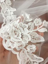 9 yards Cotton Mesh Embroidery Lace Trim , Clear Sequin Fabric Lace , Bridal Veil Garter Trim Sewing DIY Craft Supply 13cm wide