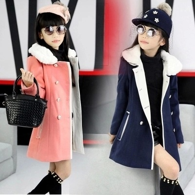 2016 Girls Winter Long Outerwear Female Child Thick Coat Kids Woolen Overcoat Fur Collar Can Disassembly Girls winter warm coat