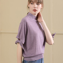 Oversize knitting sweater shirt 2018 women's fashion short-sleeved o-neck oversize loose sweater women for autumn 18056