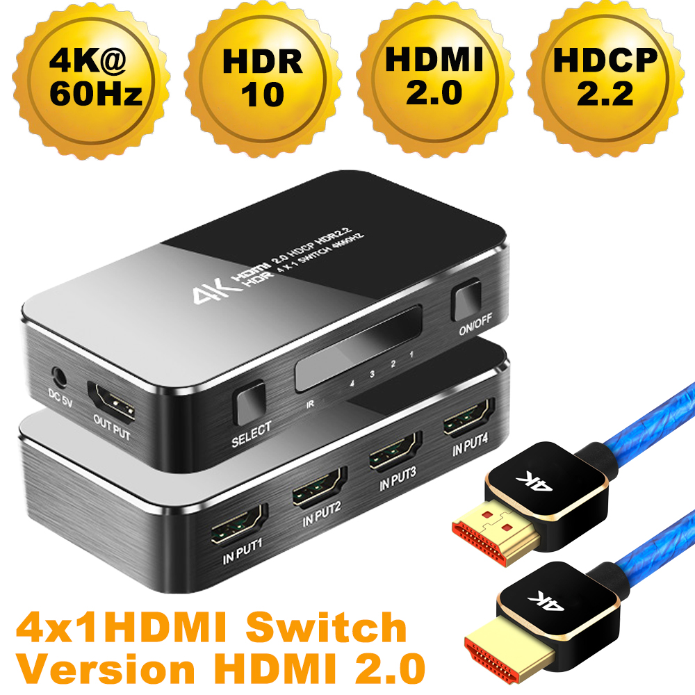 2020 Navceker HDR HDMI 2.0 HDMI Switch Support HDCP 2.2 & IR Remote 1x4 Mini HDMI Switch Switcher 18Gbps HDMI Switch 2.0 HUB Box
