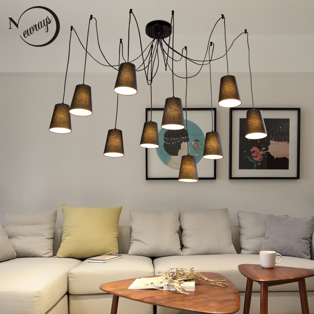 Modern Large Black/white Spider Braided Pendant Lamp DIY 10 Heads Clusters Of Hanging Fabric Shades Ceiling Lamp E14 Lighting