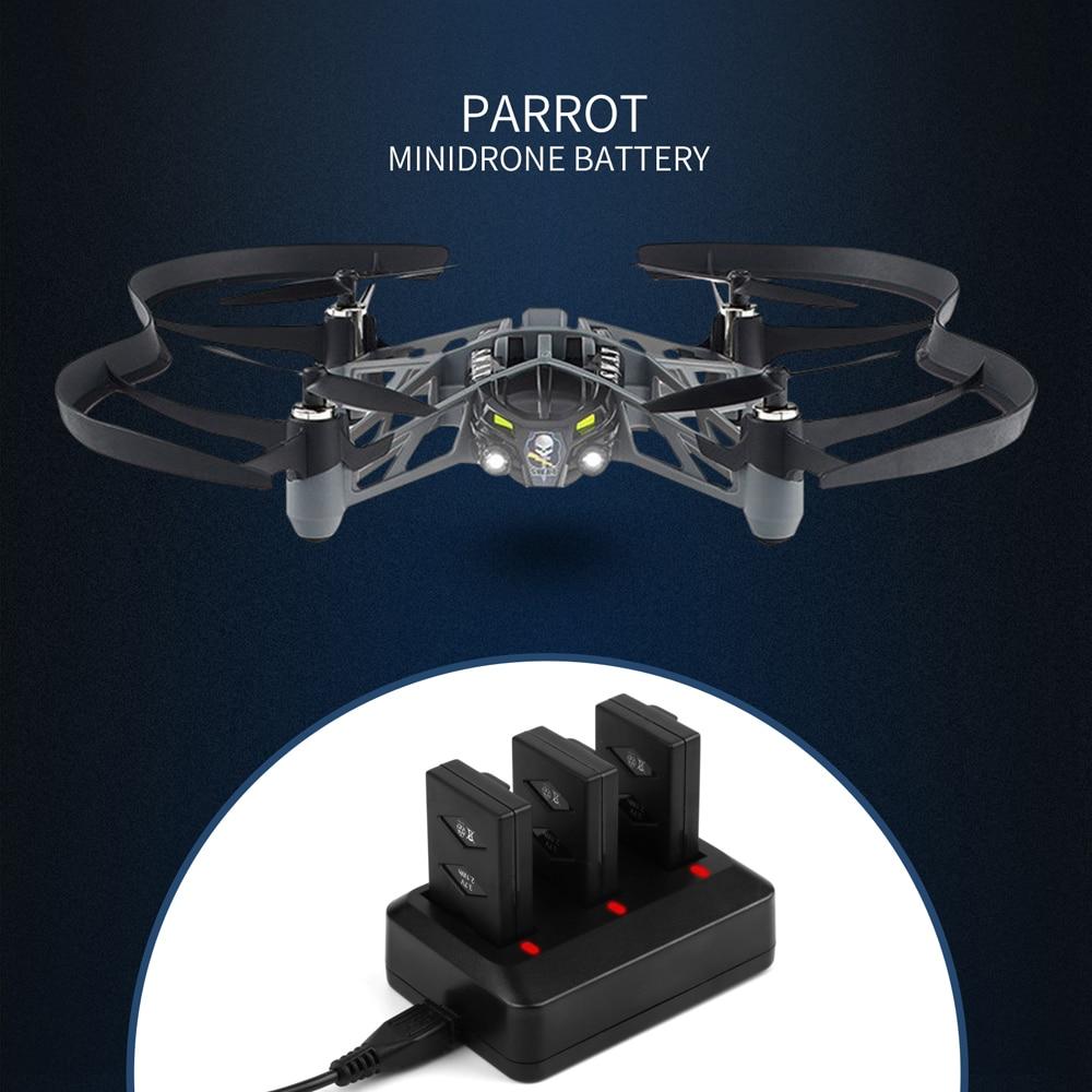 Negro Bater/ía Recargable de 3.7V 600Mah con Cargador de bater/ías de 3 v/ías para Parrot Jumping Sumo Swing Mambo Rolling Spider Mini Drone