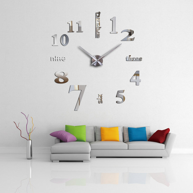 Heißer Verkauf 3d Wanduhr Acryl Spiegel Diy Uhren Schlafzimmer Wanduhr  Grote Wandklok Modernes Design Wohnzimmer