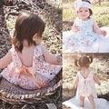 2016 новые Новорожденных Девочек одеваться Летом Младенческой девочка Кружевном платье с Трусы Рукавов Спинки детская одежда