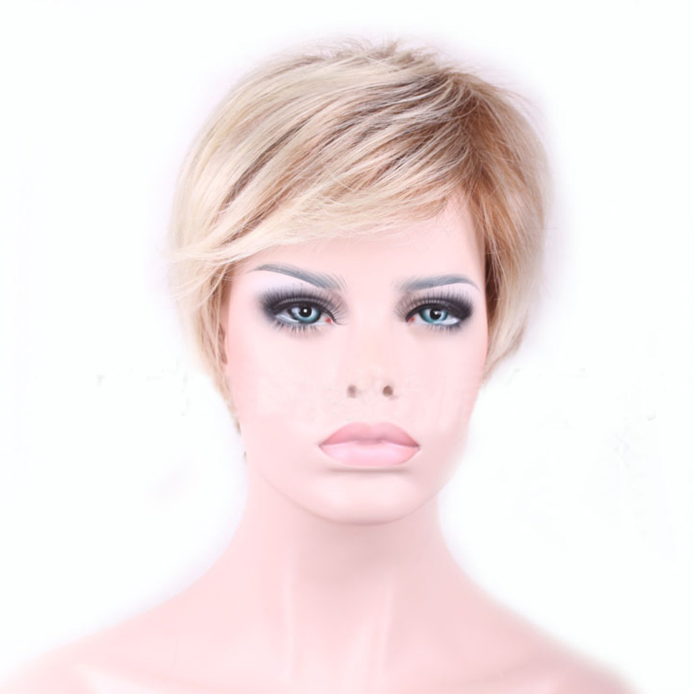 New High Quality Cool Women Blonde Wig Heat Resistant Short Wigs For Women Fake Hair Pixie Cut Female
