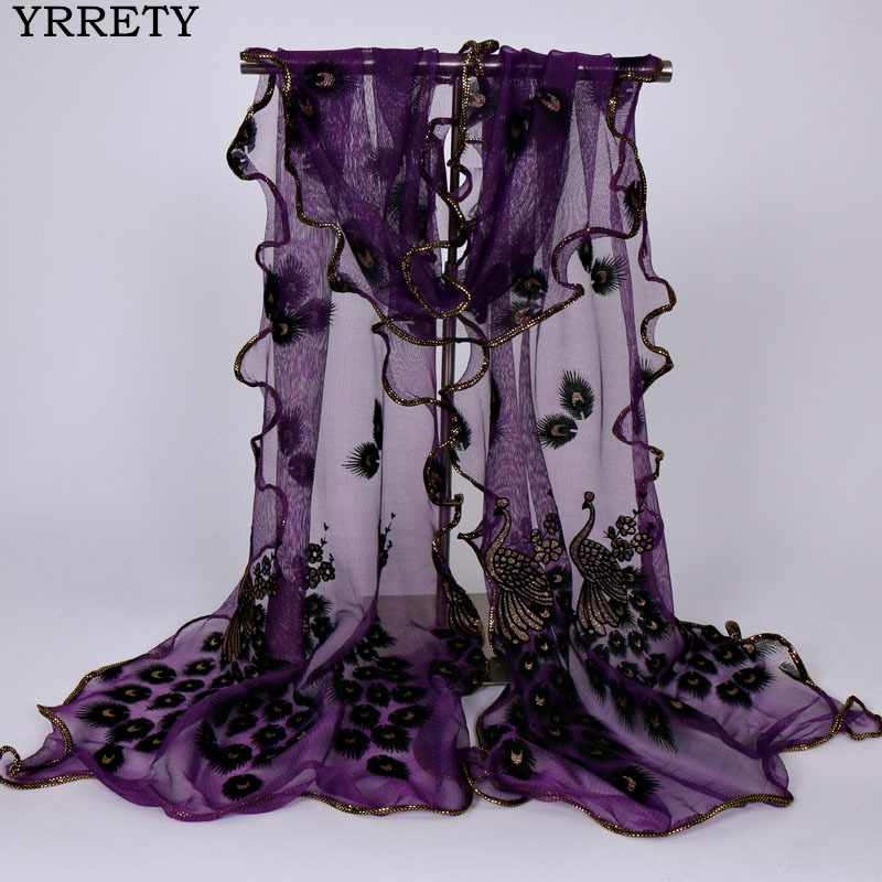 YRRETY New Design Women Chiffon Peacock Feather Flower Embroidered Lace Stylish Scarf Long Soft Wrap Shawl Ladies Scarf Stole