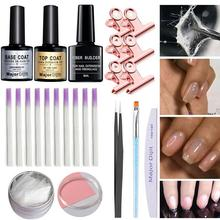 Professional Fiberglass Nail Extension Form Set Gel French Clear Tip Crystal Uv Slice Brush
