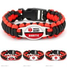 Medical Alert Diabetes Diabetic Type 1 Type 2 Awareness Military Parachute 550 Cord Wristband Unisex Survival Paracord Bracelets