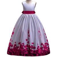 2019 New Girl Party Princess Dress Teenager Girls Print Dresses Kids Children Sleeveless Bow Wedding Evening Long Dress Costumes