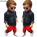Niosung New 1Set Handsome Kids Toddler Boys Denim Long SleeveT-shirt+Trousers Pants Clothes Outfits Baby Children Clothing Suit