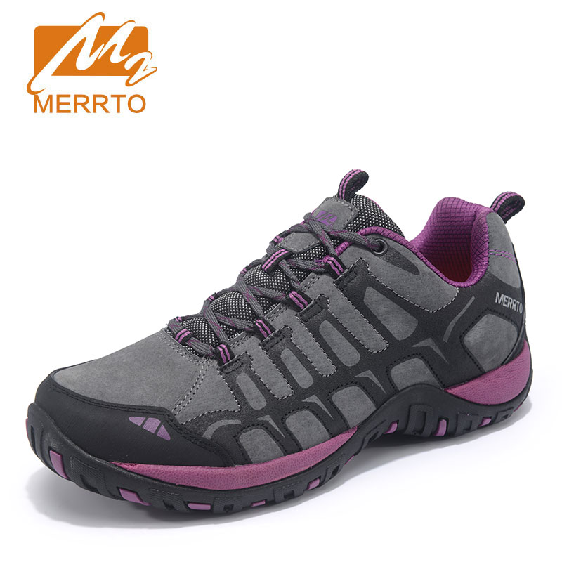MERRTO Winter Hiking Shoes Women Waterproof Outdoor Hiking Boots Genuine Leathe Athletic Sneakers Mountain Trekking Shoes ship from ru merrto winter cowhide man outdoor hiking shoes fishing athletic trekking boots waterproof climbing walking sneasker