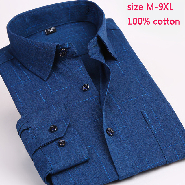 comfortable 100% cotton new arrival mens fashion male autumn super large high quality formal long-sleeve shirt plus size M-9XL