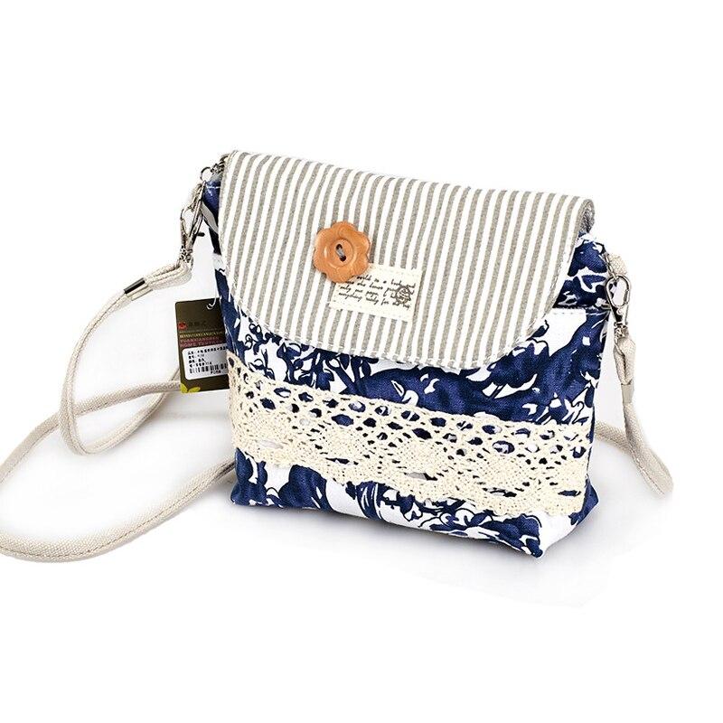 QZH Women Mini Messenger Bags Flap Bag Lady Fresh Style Canvas - Պայուսակներ - Լուսանկար 3