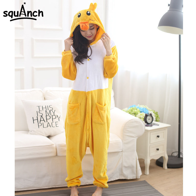 Yellow Duck Pajama Animal Party Wear Costume Adult Women Girl Soft Sleep Suit Winter Warm Comfortable Jumpsuit Festival Fancy