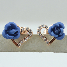 USTAR Blue Rose Flower Lovely Heart Earrings Full Crystals  Gold color Fashion Stud Earring for Women Wedding Party Jewelry 976