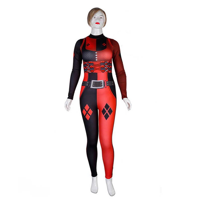 ZSQH New Suicide Squad Harley Quinn Cosplay Costume Bodysuit Jumpsuits Halloween Costumes for Women Bad girls