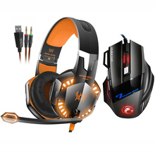 EACH G2000 Stereo Gaming Headset Deep Bass Headphone with Mic LED Light+7 Buttons  5500 DPI USB Gaming Mouse Game Mice for Gamer kotion each g2200 gaming headphone 7 1 surround usb vibration game headset headband headphone with mic led light for pc gamer