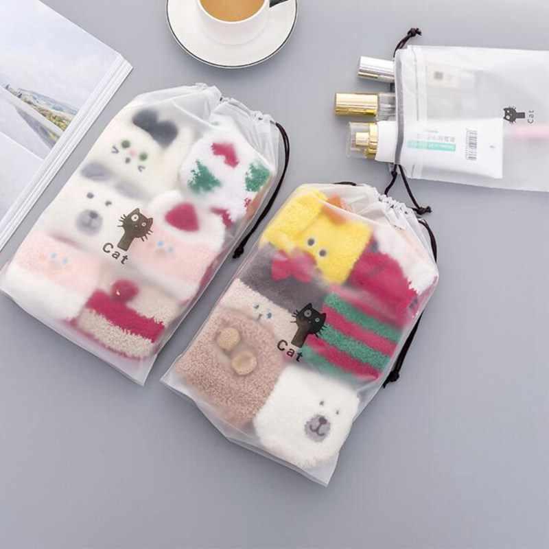 Kot kreskówka podróży sznurkiem makijaż torba przezroczysty makijaż kosmetyczka kobiety torebka pokrowiec organizator produkt do kąpieli zestaw