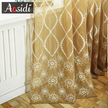 Modern Window Floral Embroidered Tulle Curtains For The Living Room Embroidery Voile Bedroom Blinds Sheer