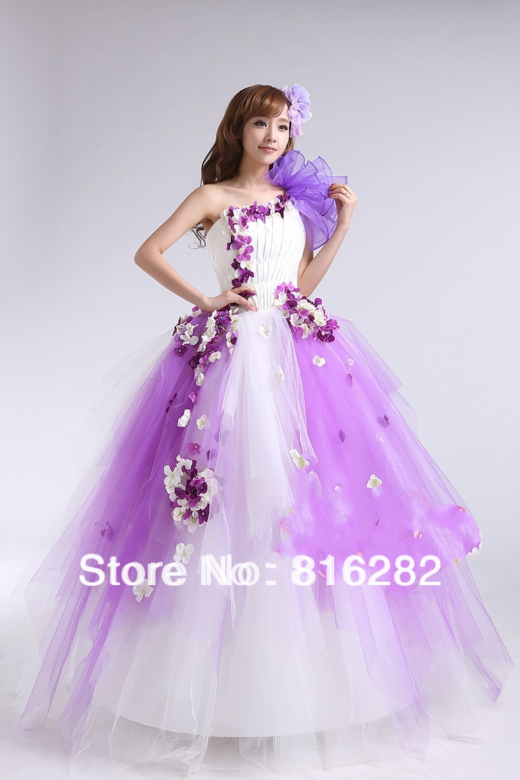 Colourful Ball Gown Floor Length Lace Up Handmade Flower