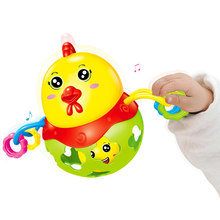 Cute Chicken Baby Rattle Musical Mobile Baby Music Toy Handbell Shaking Baby Toys Jingle Bell Kids Education Toys Christmas Gift(China)
