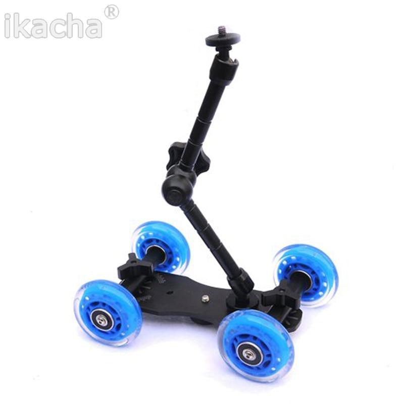 Rail Rolling Track Slider Skater Table Dolly Car + 11'' Inch Magic Arm For Canon Nikon DSLR Camera Camcorder