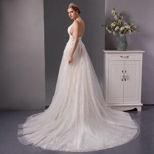 Image 2 - SL 6077 derin boyun çizgisi gerçek fiyat dantel plaj düğün elbisesi 2019 sposa uzun tren tül vestido boho düğün gelin kıyafeti artı boyutu
