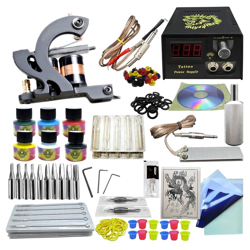 Anmas Rucci Complete 1 Tattoo Machine Gun 6 Color Inks Power Supply Set Beginner KitAnmas Rucci Complete 1 Tattoo Machine Gun 6 Color Inks Power Supply Set Beginner Kit