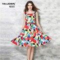 Mujeres europeo de primavera de impresión de la moda cute a-line dress work party vestidos retro audrey hepburn elegante sashes vestidos q1595811