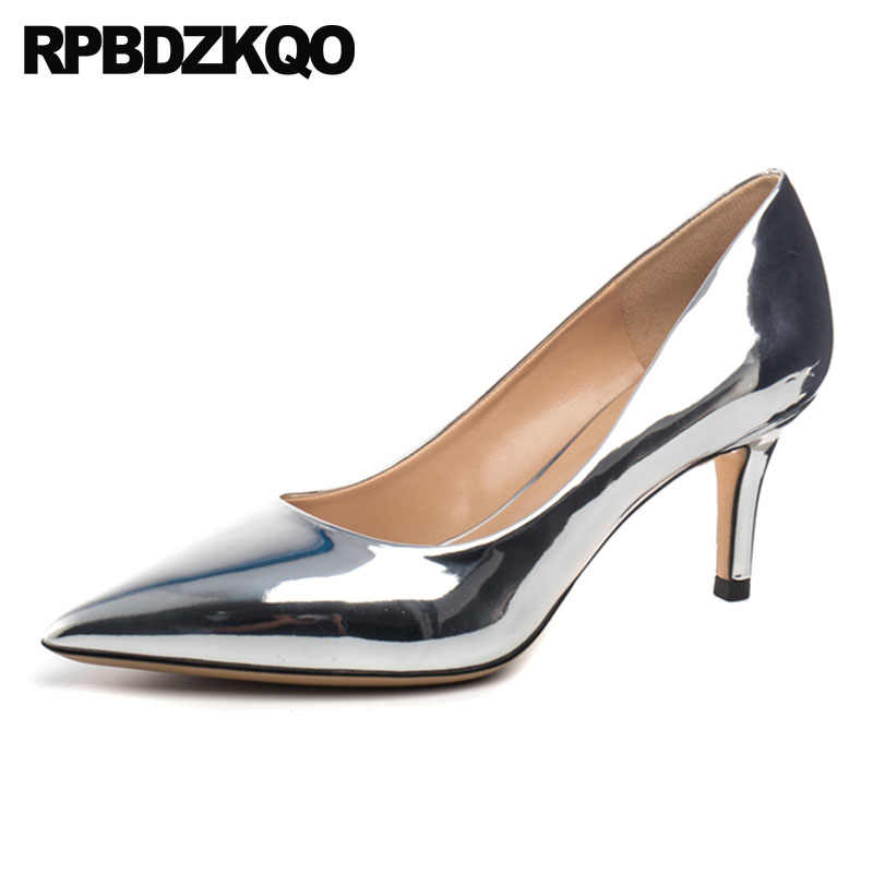 4b3bb08600 Celebrity Size 4 34 Pumps Golden Women Patent Leather Pointed Toe 3 Inch  Scarpin High Heels Gold Shoes Wedding Silver Metallic