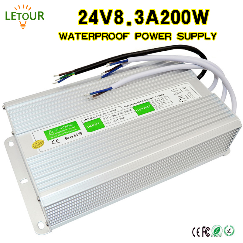 24V 8.5A Power Supply Waterproof IP67 Adapter AC 96V-240V Transformer DC 24V 200W AC-DC LED Driver Switching Power Supply CE FCC 18v10a dc power supply motor adapter ac110v 220v transformer 18v 180w led driver ac dc switching power supply ce fcc cert
