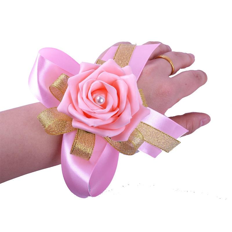Pink Wedding Corsage For Bridesmaid Party Blue Pulseras Damas De Honor Corsage Bracelet Flower Wedding Bridesmaids Accesories