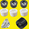 10 20 50 100pcs 20mm 15 30 45 60 90 120 Degree Clear LED Lens + 22mm Black White Holder For 1W 3W 5W LED Light Diodes Bead