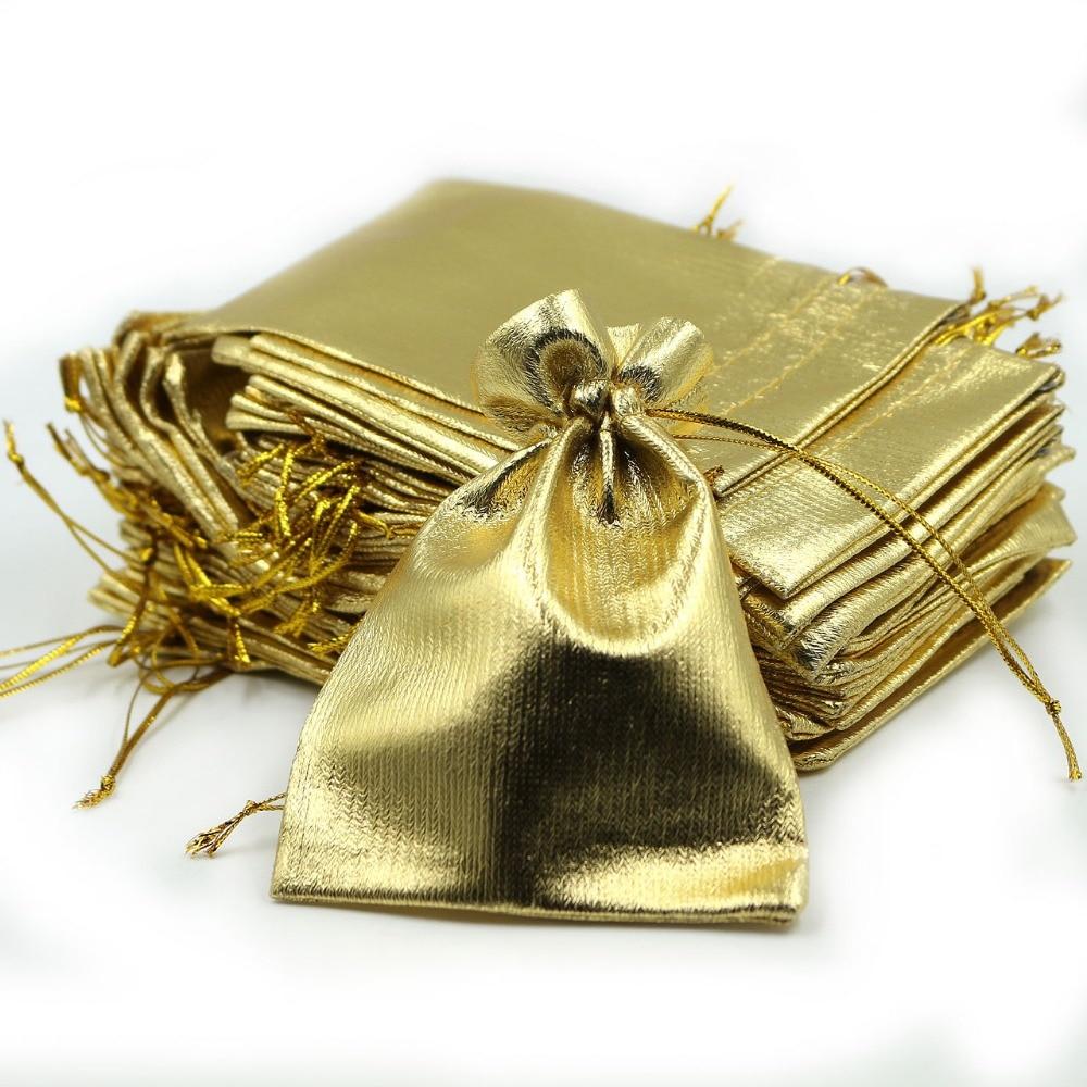 100 pces 7x9 cm brilhante ouro folha metálica pano organza malotes decoração do casamento favores presentes artesanato doces jóias sacos de embalagem