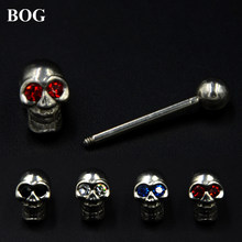 Acciaio Chirurgico 316L CZ Gemmed Morte Testa Dell'osso Del Cranio Tongue barbell Piercing Anello Bar Con CZ Gem(China)