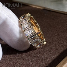 ROMAD Luxury Personality Ring Female Inlaid Full Rectangular Zircon Engagement Rings Delicate Wedding For Women Jewelry R5